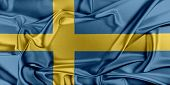 image of sweden flag  - Flag of Sweden waving in the wind - JPG