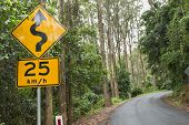 stock photo of slippery-roads  - Curvy road sign in the forest next to the road - JPG