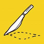 stock photo of scalpel  - Scalpel Doodle Drawing - JPG
