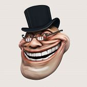 stock photo of troll  - laughing internet troll spectacled 3d illustration isolated - JPG