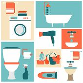 foto of spring-cleaning  - Flat design icons on a theme of bathroom - JPG