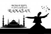 stock photo of masjid  - Islamic Calligraphy of shiny text Ramadan Kareem or Ramadan with silhouette of Mosque or Masjid in moon light night background - JPG