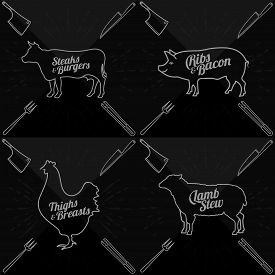 pic of lamb shanks  - Vector illustration of beef pork lamb and chicken and cooking tools - JPG