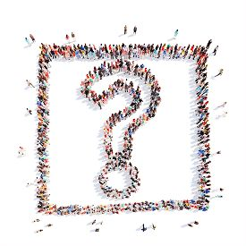 picture of punctuation marks  - A large group of people in the shape of a question mark - JPG