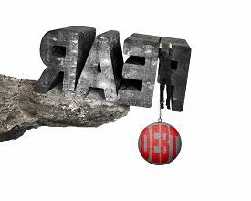 foto of shackles  - Man shackled by heavy red debt ball hanging on big 3D fear mottled concrete word at the edge of cliff with white background - JPG