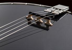 picture of banjo  - Black Banjo isolated on black background deatil - JPG