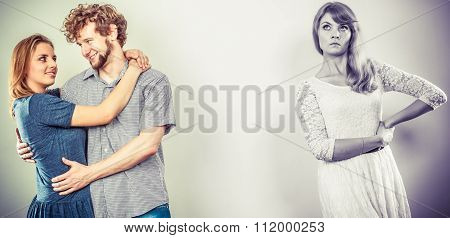 Abandoned Woman With Enamored Couple