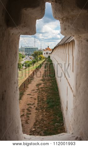 View Through The Loophole Of The Astrakhan Kremlin, Russia