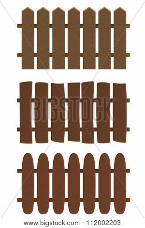 Cartoon wooden fence in plasticine or clay style.