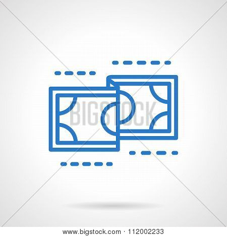 Currency vector icon blue simple line style