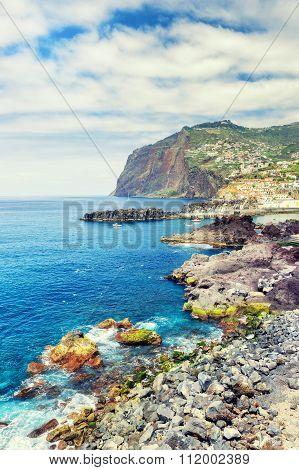 View Of Cabo Girao Cliff And Camara De Lobos Town. Madeira Island