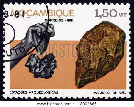 Postage Stamp Mozambique 1981 Hand Ax, Massingir Dam