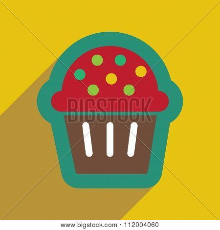 flat icon with long shadow celebratory cake