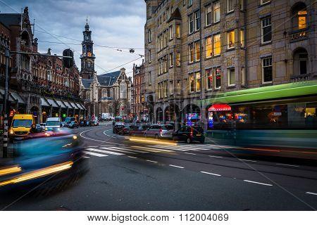 Traffic On Raadhuisstraat, In Amsterdam, The Netherlands.
