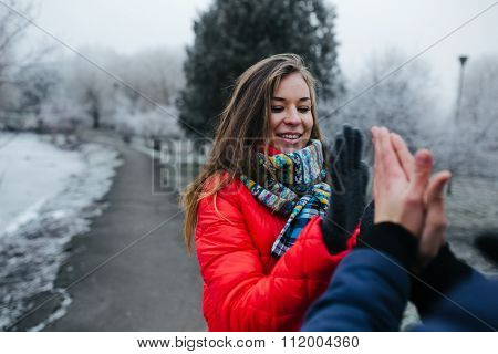 couple in a winter day