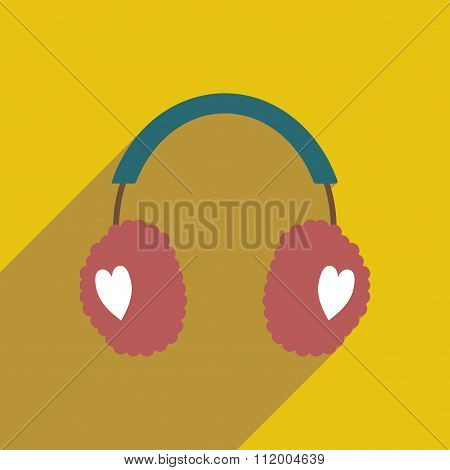 flat icon with long shadow earmuffs hearts