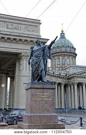 Monument To Field Marshal Prince Mikhail Kutuzov Near The St. Sophia Cathedral In St. Petersburg