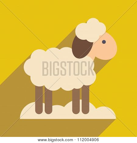 flat icon with long shadow Christmas lamb