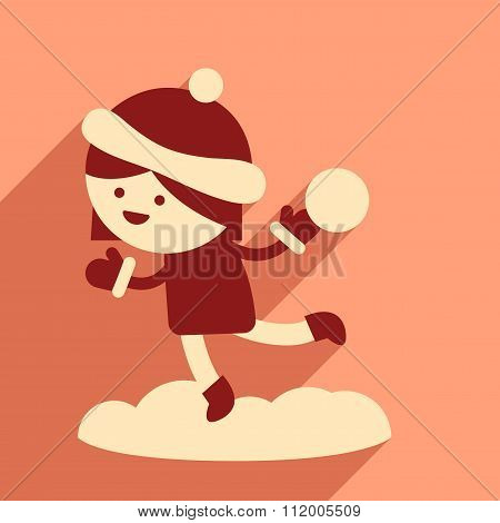 flat icon with long shadow girl playing snowballs