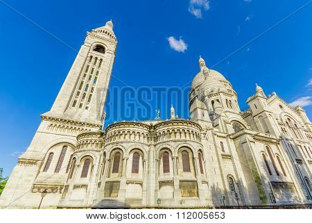 Basilica of the Sacred Heart, Sacre Coeur in Montmartre hill, Paris, France