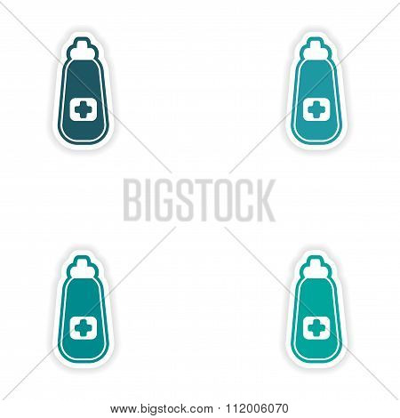 Set of paper stickers on white background medicament in bottle