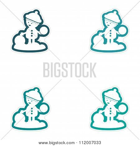 Set of paper stickers on white background boy playing snowballs