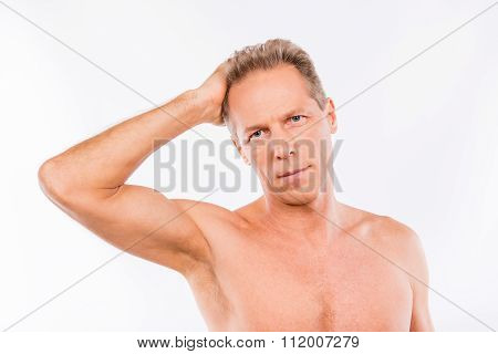 Portrait Of Handsome Man Put His Hand In His Hair