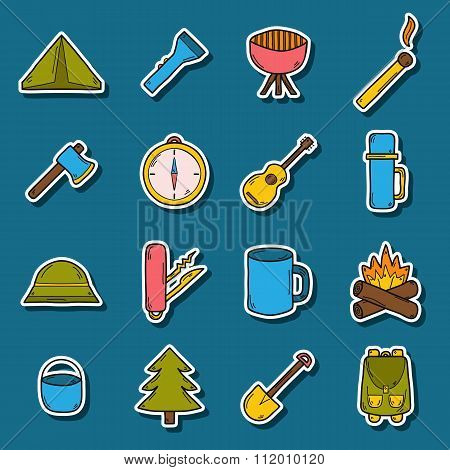 Set of camping stickers