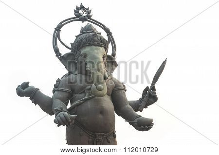 Statue Of Ganesh , Isolate On White  Background
