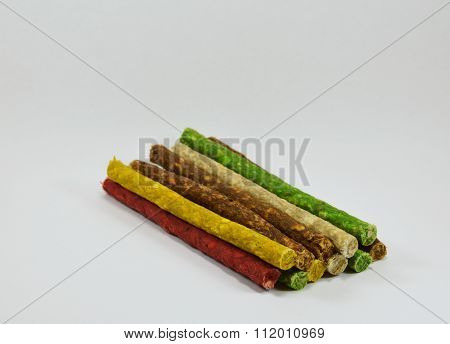 dog snack stick munch on white background