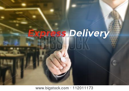 A Businessman holding a white sign with the message Express delivery.