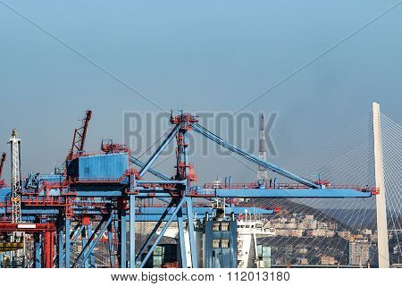 cargo cranes working in the port of Vladivostok