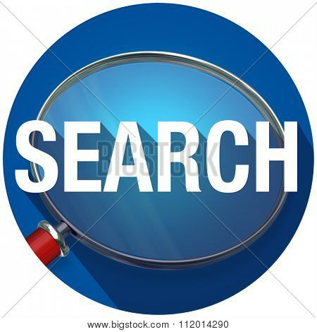 Search word with long shadow on magnifying glass to illustrate looking for and finding facts and information
