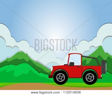 Jeep riding on the road illustration