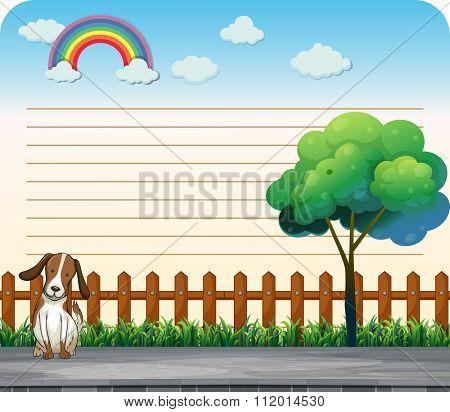 Line paper design with dog on the sidewalk illustration