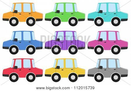 Private car in different colors illustration