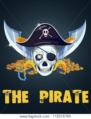 Pirate skull and treassure illustration