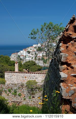 Hydra Island With Rock On The Foreground