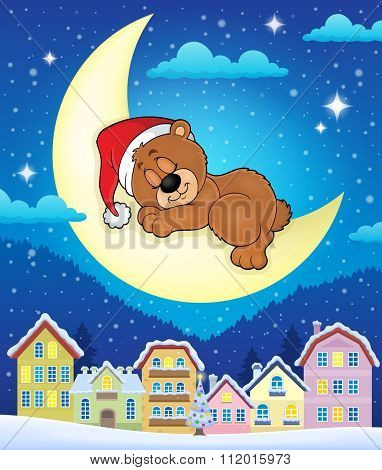 Christmas town with sleeping bear - eps10 vector illustration.