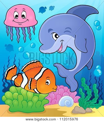 Ocean fauna topic image 2 - eps10 vector illustration.