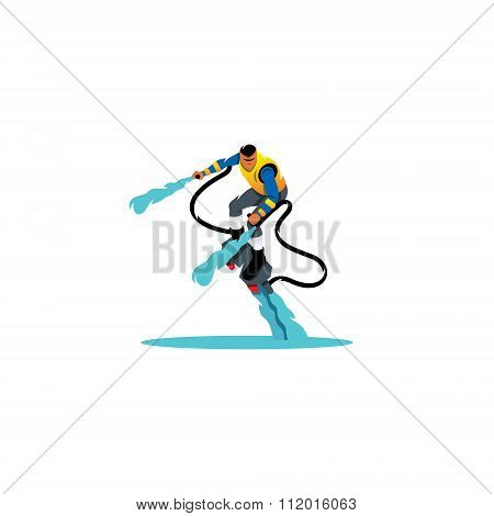 Flyboarding man. Vector Illustration.