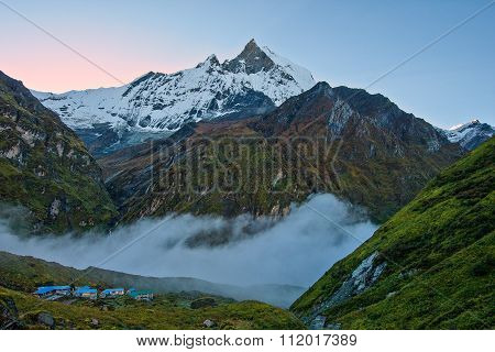 The Sacred Fishtail Mountian (machhapuchre), Early Morning, In Annapurna Range, Nepal