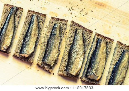 Snack With Sardines On A Slice Of Bread