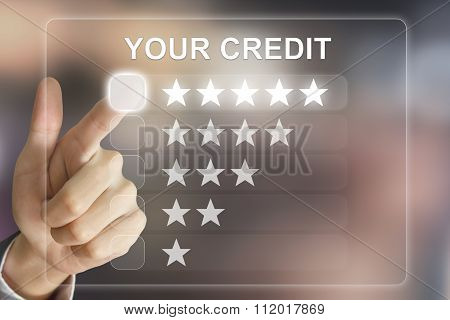 Business Hand Pushing Your Credit On Virtual Screen