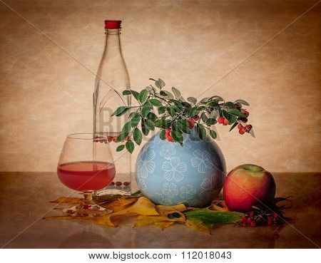 Still Life With Bottle, Glass, And Greenery