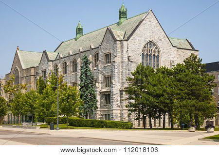 Douglas Library building on campus of Queen's University in Kingston, Ontario, Canada.
