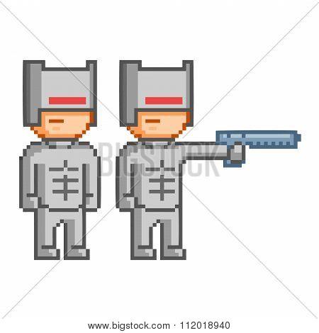 Pixel Cyborg For 8 Bit Video Game
