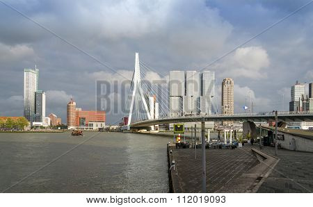 Rotterdam, Netherlands - May 9, 2015: Erasmus Bridge With Skyscraper In Rotterdam, The Netherlands.