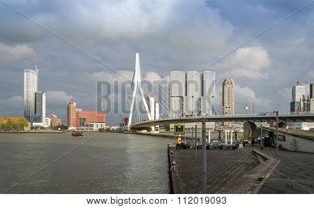 Rotterdam, Netherlands - May 9, 2015: Erasmus Bridge With Skyscraper In Rotterdam, The Netherlands.