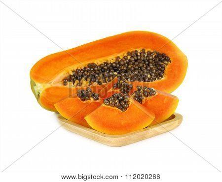 Papaya Isolate On  White Background